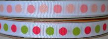 10mm MULTI-COLOUR POLKA DOTS grosgrain ribbon